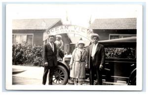 Postcard Ocean View Court, CA Family Portrait Vintage Car RPPC H11