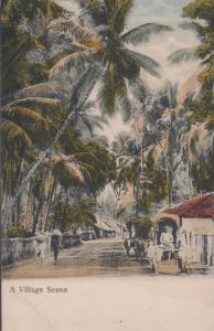 A Village Scene Antique Indian Postcard