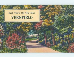 Linen Postcard Ad BEST TOWN ON THE MAP Vernfield Pennsylvania PA HM4555