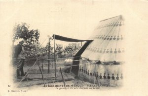 Morocco Casablanca General Drude in front of his tent postcard