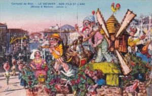 France Nice Carnaval de Nice Le Me'Jnier Son Fils Et L'Ane