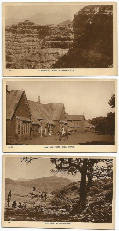 India Mahableshwar vintage real photo postcards x 12