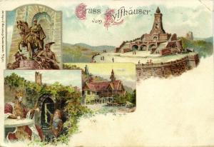 germany, KYFFHÄUSER, Multiview, Denkmal  Statue Monument (1899) Litho