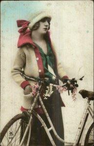 Beautiful Woman Hat Jacket Bicycle c1910 Tinted Real Photo Postcard