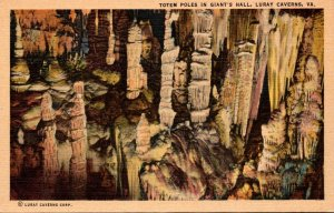 Virginia Caverns Of Luray Totem Poles In Giant's Hall