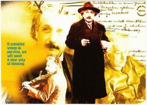 Albert Einstein A New Way of Thinking Quote Modern Postcard