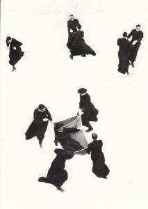 Japanese Men in Hammocks Comic Martial Arts Photo Winner Museum Art Postcard