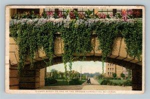 Dayton OH, National Cash Register Flowers on Bridge, Vintage Ohio c1915 Postcard