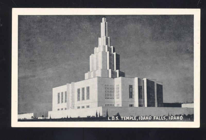IDAHO FALLS IDAHO LATTER DAY SAINTS LDS TEMPLE MORMON VINTAGE POSTCARD B&W