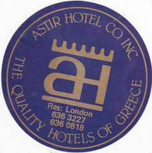 GREECE ASTIR HOTELS VINTAGE LUGGAGE LABEL