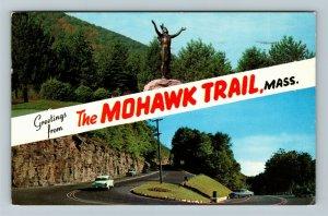 The Mohawk Trail MA-Massachusetts Banner Greetings, Chrome c1959 Postcard