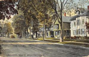 Danbury Connecticut~West Street @ Harmony Homes~Trolley Tracks~1914 Postcard
