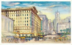 USA Manx Hotel at Union Square San Francisco California Vintage Postcard 01.77