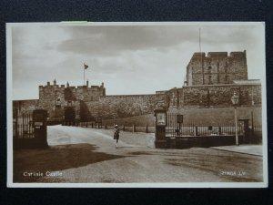 Cumbria CARLISLE CASTLE showing Little Girl at Entrance c1930's RP Postcard