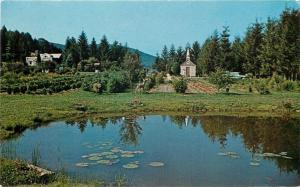 Horse Shoe Run West Virginia~Small Church~Garden~Lily Pond~1950s Postcard