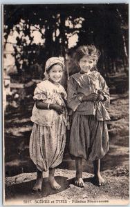 Vintage Morocco Postcard Fillettes Mauresques Moorish Girls Dated 1926