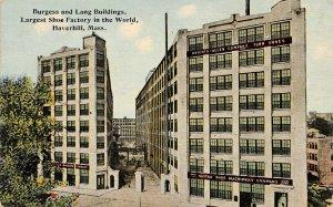 LPS70 Haverhill Massachusetts Burgess and Lang Buildings Shoe Factory Postcard