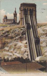MARSEILLE, Notre-DAme-de-la-Garde et l'Ascenseur, Bouches-du-Rhone, France, P...