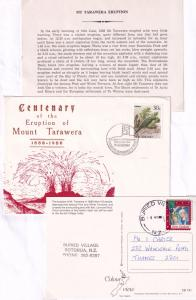 Mount Tarawera Volcano Eruption New Zealand 2x First Day Cover Ephemera