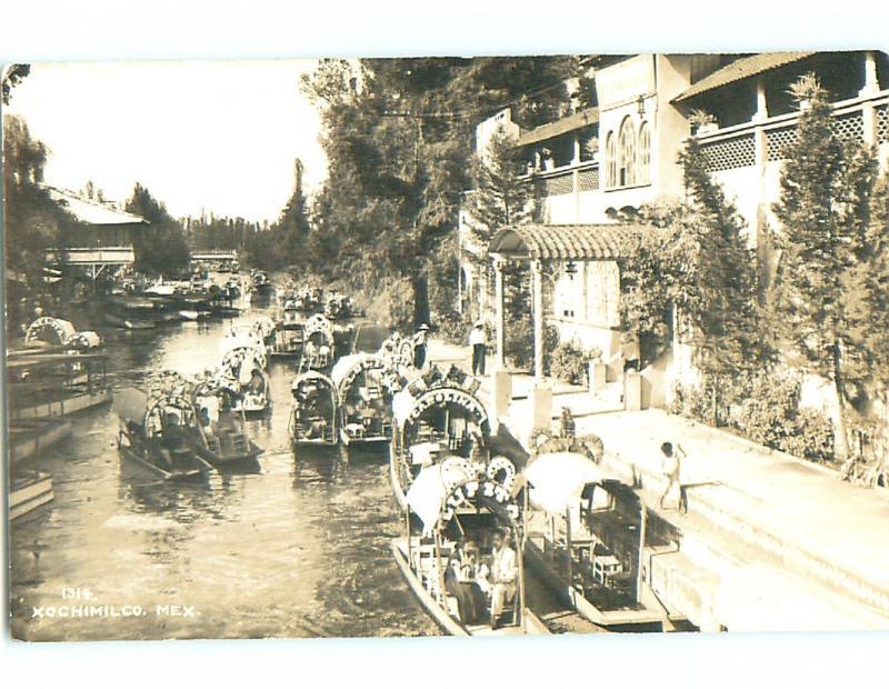 Old rppc TOURIST RIVER BOAT RIDES Xochimilco MEXICO v5150