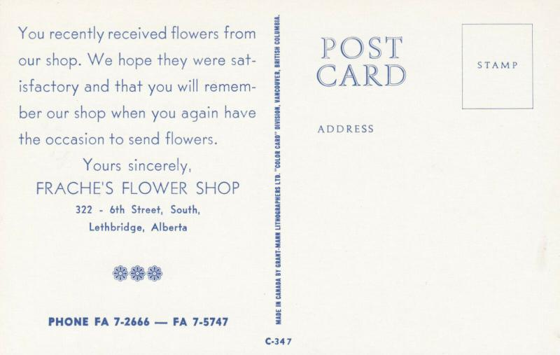 LETHBRIDGE , Alberta , Canada , 50-60s ; Frache's Flower Shop