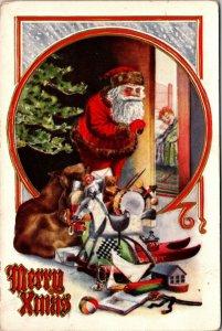 1911 - Antique PC's Santa peeking To See If Children Sleeping Posted POSTCARD