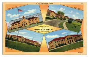 Greetings from Moffett Field, CA US Naval Air Station Multiview Postcard *6S(5)1
