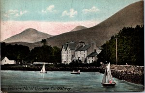 Leenane Hotel Galway Ireland Sailboats Jetty Mountains c1907 vtg Postcard