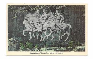 Stone Mountain Georgia Confederate Memorial Carving Vintage Glossy Postcard