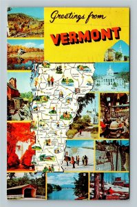 Greetings From Vermont, Multiple Scenic Views, State Map, Chrome c1963 Postcard