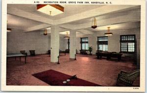 Asheville, NC Postcard Recreation Room, GROVE PARK INN Ping Pong Table Linen