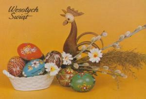 Poland Toy Horse & Cart Wooden Clogs Castle Polish Happy Christmas Postcard