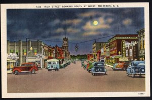 South Carolina ~ Main Street looking South at Night ANDERSON with cars bus LINEN