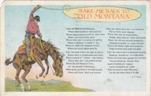 Take Me Back To Old Montana Cowboy and Bucking Horse 196 Curteich
