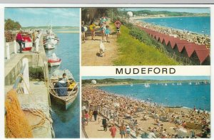 Dorset; Mudeford Multiview PPC By J Salmon, Unused, c 1970's, Shows Beach Huts