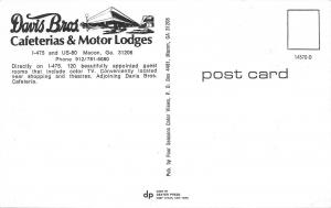 Macon Georgia~Davis Bros Cafeterias & Motor Lodges~Poolside~1970s Postcard