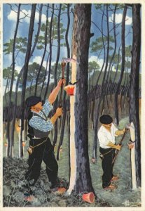 Art Postcard, résiniers au travail Resiniers at work by Charles Homualk DR4