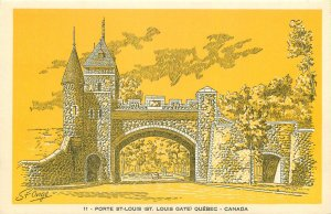 Postcard Canada porte st louis gate quebec yellow architecture drawing towers