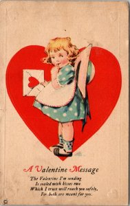 1924 - A Valentine Message GIRL DUTCH Postcard Vintage ANTIQUE