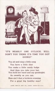 Humour Arcade Card Romantic Couple On Chair It's Nearly One O'Clock Bill