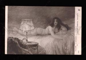 013759 Illuminated NUDE Woman MATIGNON Old Art Nouveau SALON