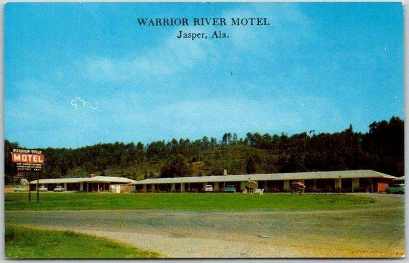 Jasper, Alabama Postcard WARRIOR RIVER MOTEL Highway 78 Roadside Chrome c1960s