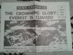 Everest Mountain Climbing To Summit 1953 Fascimile Newspaper