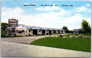 Conway, Arkansas Postcard IDEAL COURT Motel Highway 64 Roadside Linen c1950s