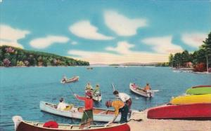 New York Adirondack Mountains Boating Scene On One Of Our Many Lakes 1954
