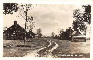 New Philadelphia OH~Big & Small Log Cabins~Dirt Rd~Schoenbrunn Village~RPPC 1944