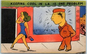 Los Angeles Comic Postcard Keeping Cool in L.A. is One Problem WWII Linen 1942