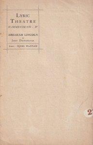 Abraham Lincoln Lyric Theatre Drama Victorian London Old Programme