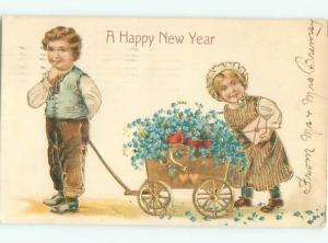 Pre-Linen FORGET-ME-NOT FLOWERS AND WAGON WITH KIDS AC1090