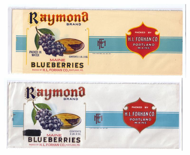 2 Raymond Maine Blueberries Can Labels Portland ME 1lb 3oz 1lb 4oz Embossed Gilt